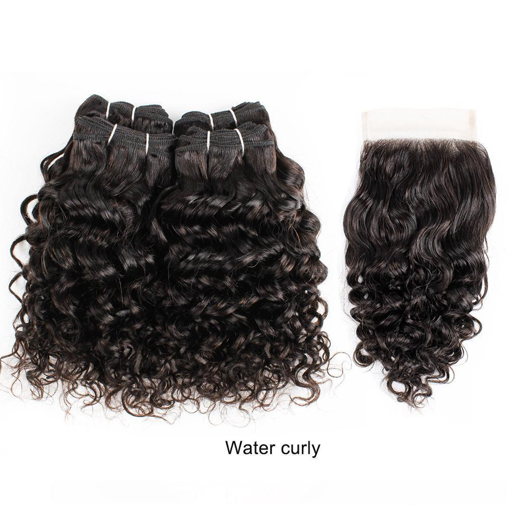 브라질 곱슬 인간의 머리 확장 깊은 물 제리 컬 위브 Bundlesnatural 색 짧은 길이 곱슬 머리 (10 개) 12 개 인치 4 번들 세트 레미 헤어