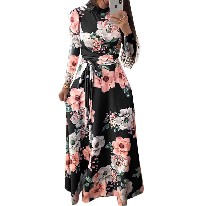 Kadın Yaz Elbise Zarif Uzun Kollu Parti Elbise Boho Çiçek Baskı Elbise Standı Yaka Günlük Elbiseler Vestidos 3xl