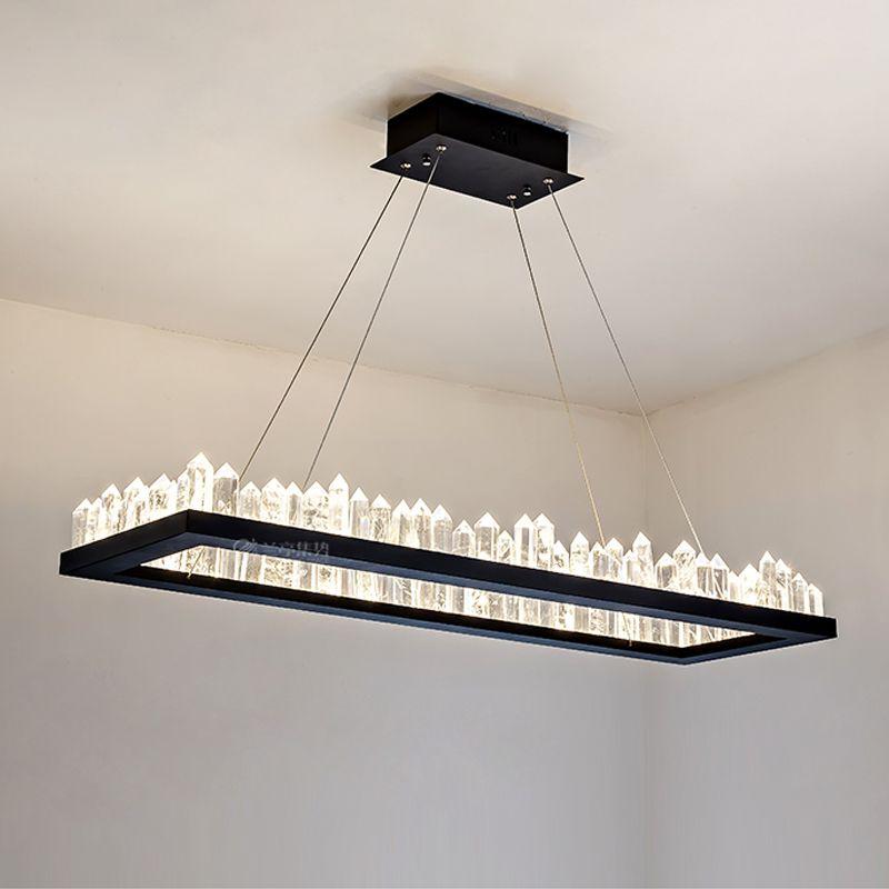 Rechteckige LED Pendelleuchte für Esszimmer Küche Leuchte 120cm 100cm Blackwhite führte Deckenpendelleuchte Hängelampe 110v 220v