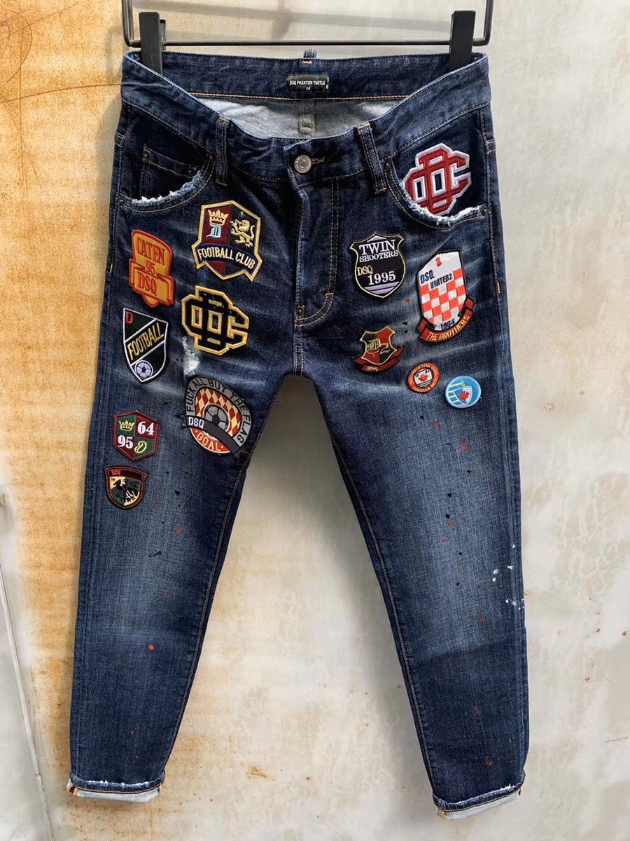 DSQ Jeans Hommes Jeans hommes luxe designerjeans Skinny déchiré cool Guy Causal Hole Denim Fashion Brand Fit Jeans Hommes lavés Pantalon 6820