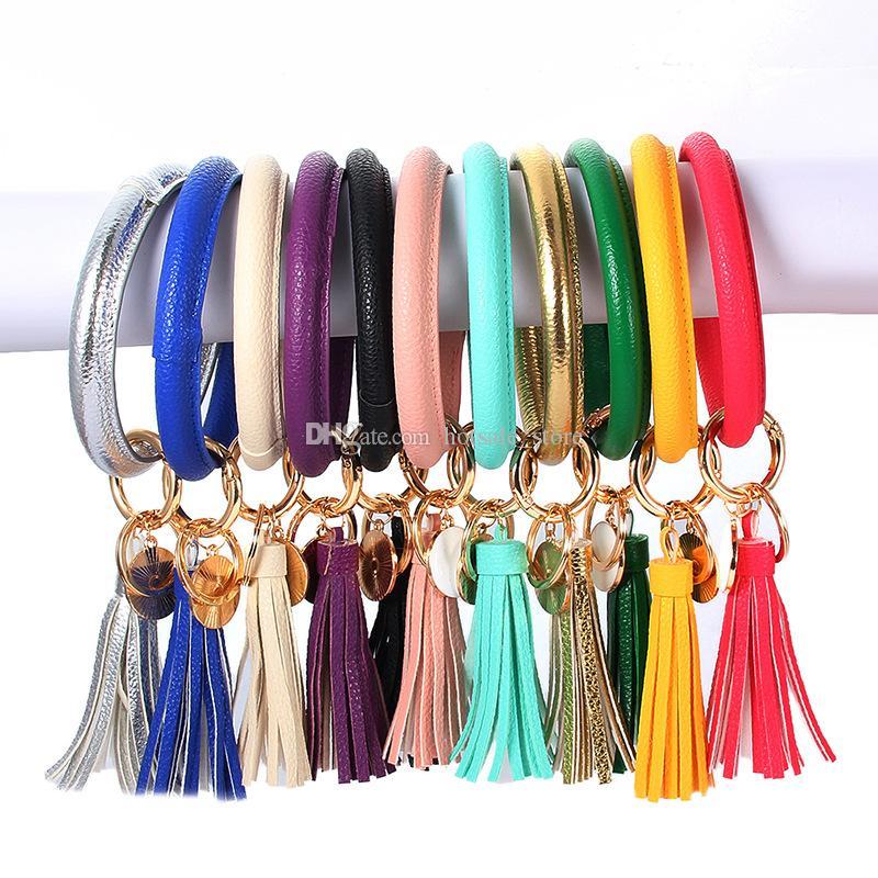 TRÈS HOT cuir PU de tournesol Tassel Bracelets 8.5cm bracelets pompon porte-clés avec porte-clés de sac d'embrayage femme de disque personnalisé