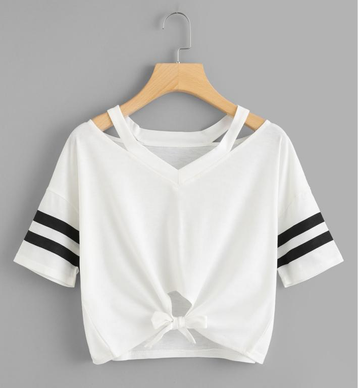 Womends T-shirt Designer Casual T-shirt court d'été 2020 Mode luxe Femmes creux de haute qualité Outt shirt en tissu S ~ 2XL