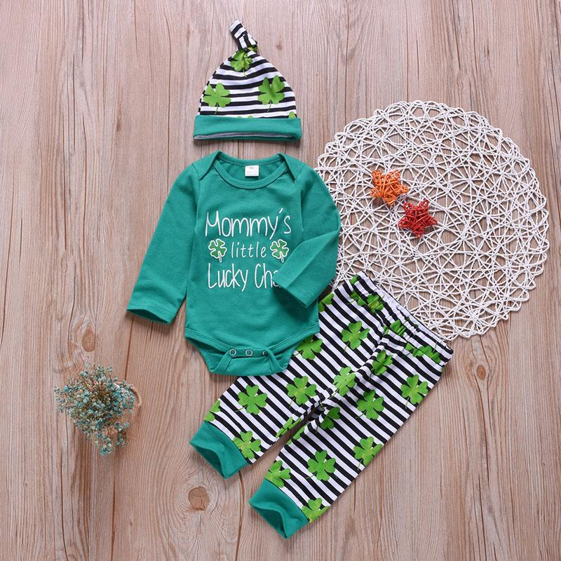 Boys Clothing Sets Cotton Clover Letter Stripe Printed Jumpsuit Covered Button Kids Desinger Clothes Three-Piece Suit Printed Hat 3M-2T