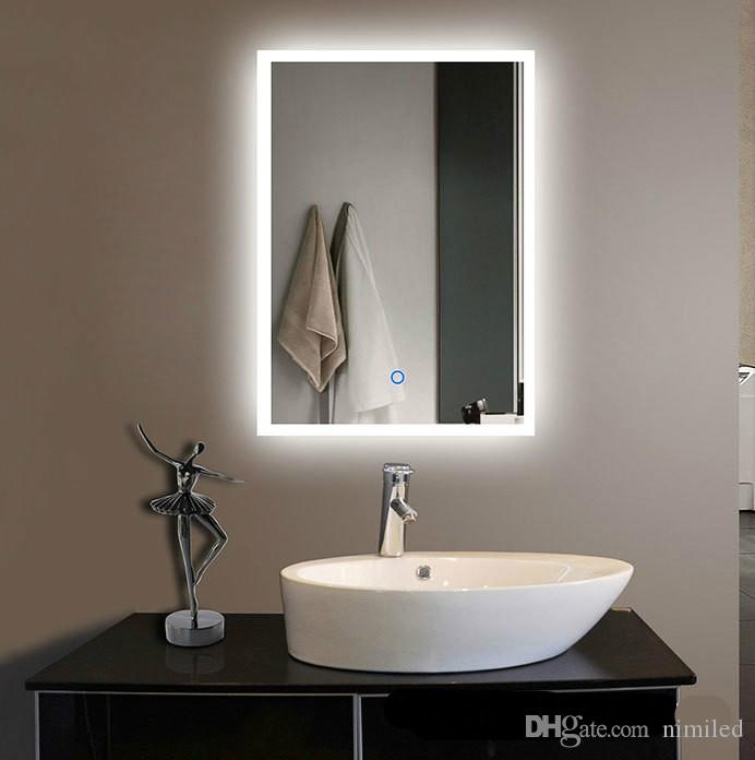 Nuevo espejo creativo moderno impermeable a prueba de agua de 60 * 80 cm para hotel de baño con interruptor táctil multifunción LLFA