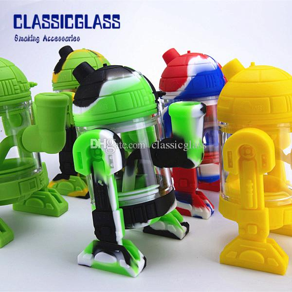 Roboter Design Glas Wasserbong mit 14mm Glasschüssel 5,3 Zoll Mini Bongs abnehmbare Silikon schützen Fall Glas