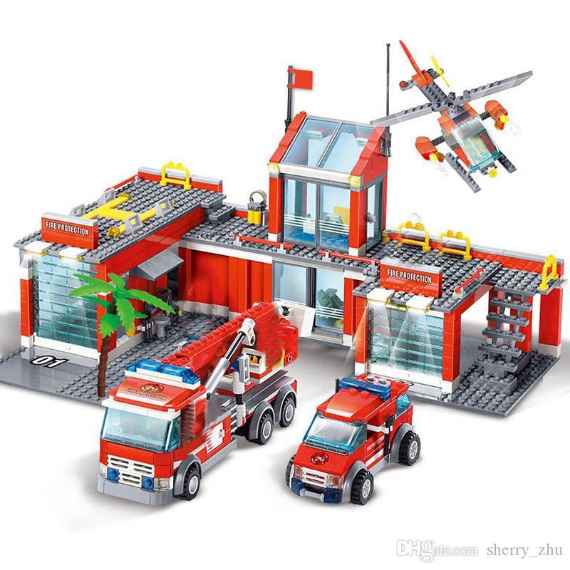 مدينة نيويورك، GIOCATTOLI في bambini النار Legoes محطة بناء ألعاب كتلة مقاتلة إطفاء الحريق شاحنة لعب للأطفال