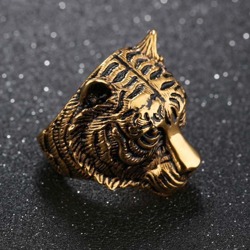 Titanium Steel Tiger Head Big Ring for Mens Vintage Punk Retro Gothic Ring Men Jewelry