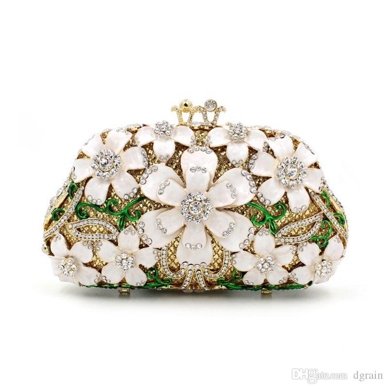 Dgrain Multi weißer Kristalldiamant-Frauen-harte Fall-Abend-Handtasche Brautminimetallhandtaschen und Geldbeutel Minaudiere Tasche Hochzeit Kupplungen