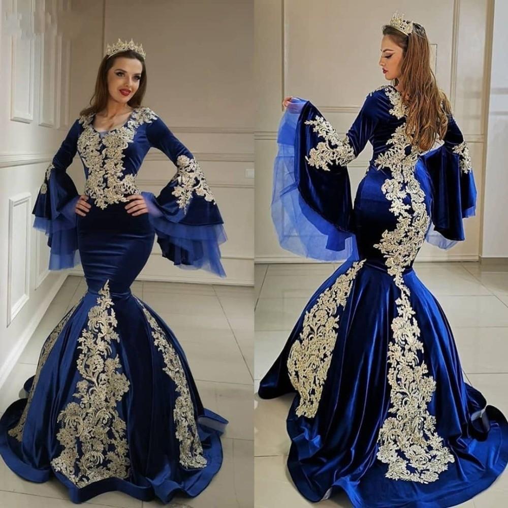 2020 musulmane arabe Royal Blue Robes de bal avec Champange Appliqued Sexy Taille Plus longue sirène Robes de soirée Party Dress formelle