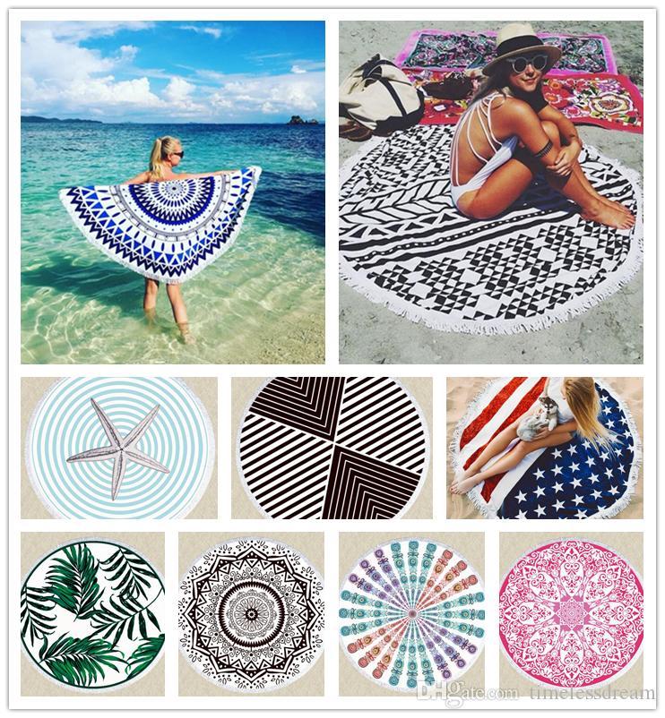 30 designs Mandala Beach Serviette Dreamcatcher Poilule de bain imprimée avec châle Tassel Summer Beach Couverture de tapis de pique-nique tapis de pique-nique tapis de tapis de pique-nique