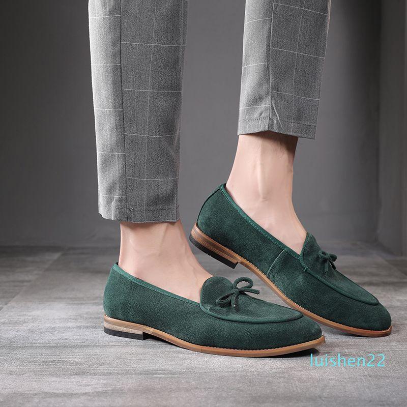 Couro Suede Homens Loafer sapatos da moda mocassim Sapatos Masculinos Casual festa do casamento do homem Calçado Big Size 37-47 l22