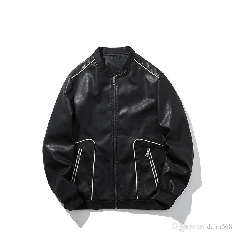 Man black PU Jacket Stand collar zipper Cardigan motion Leisure time Pullover fashion Trend Sweater Loose coat Jacket New style