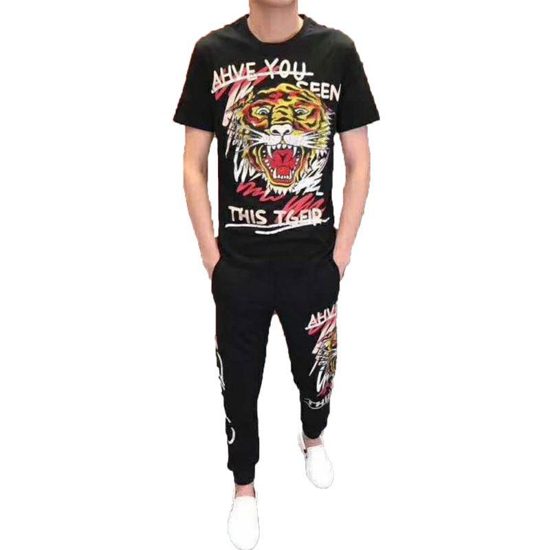 2019 New Luxury Mens Designer Tacks Summer T-shirt + Pant Sportswear Fashion Tiger Head Print Running Jogging Track Suit Plus Size S-5XL