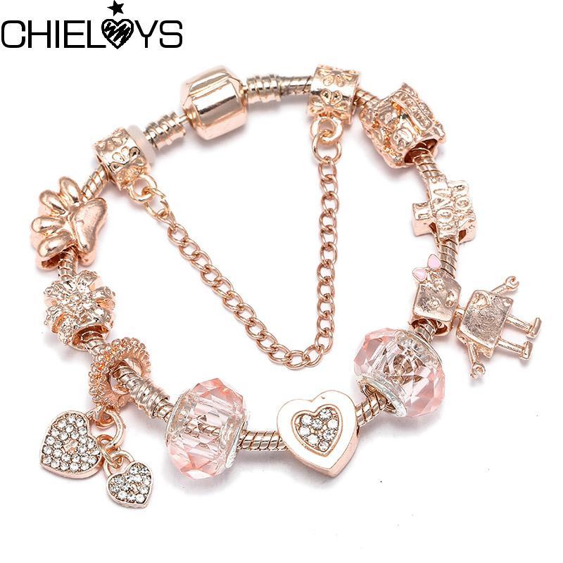 CHIELOYS Bijoux Fashion Bracelet en or rose Coeur Cristal Femmes Charm Bricolage pas cher amitié Bracelets Bangles Pulseiras Cadeau