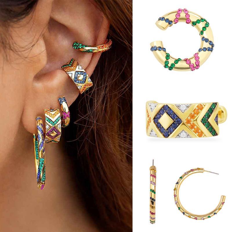 Boho Ethnische Regenbogen-CZ-Ohr-Stulpe-Klipp auf Ohrring für Frauen NO Piercing Kristall Statement Cartilage Ohrringe 2020 Earcuffs