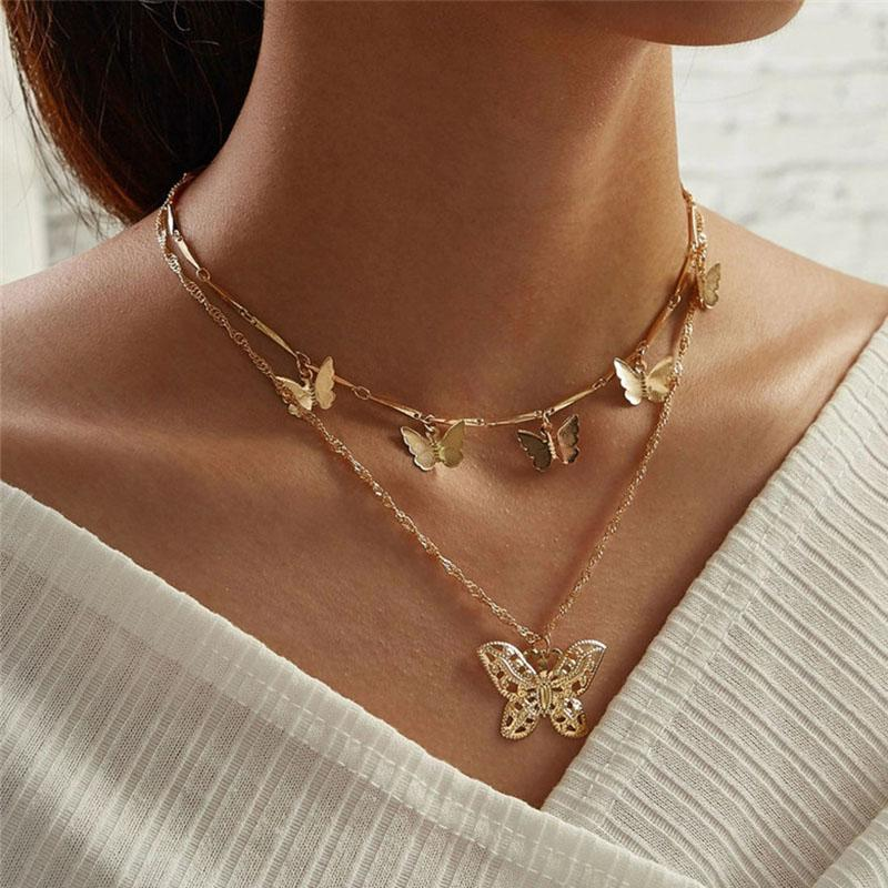 Simples da borboleta Clavícula Cadeia gargantilha estilo oco jóias com animais bonitos por Mulheres cadeia de múltiplas camadas navio colar de jóias queda