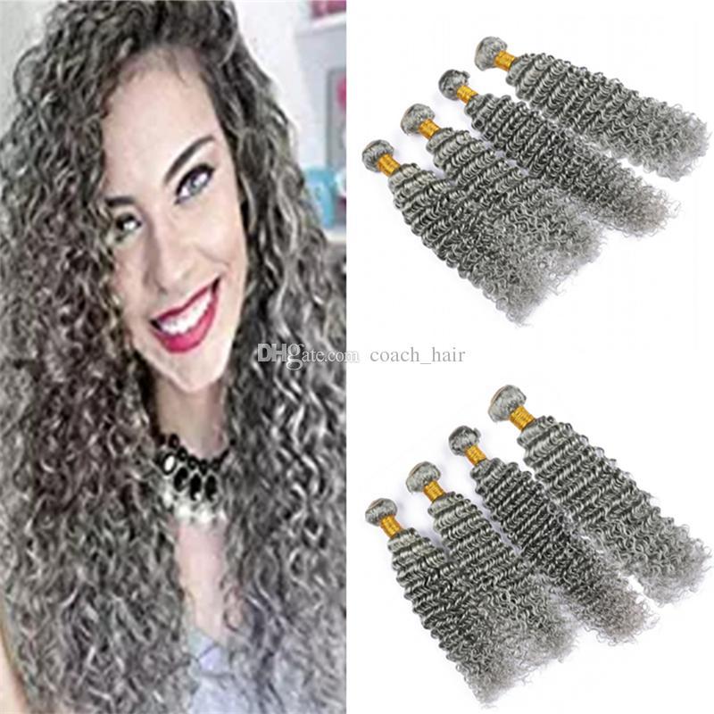 Серебристо-серый девственница индийский глубокое вьющееся плетение человеческих волос 4 пучка серые глубокие волны наращивание волос двойной утки 400 г смешанной длины
