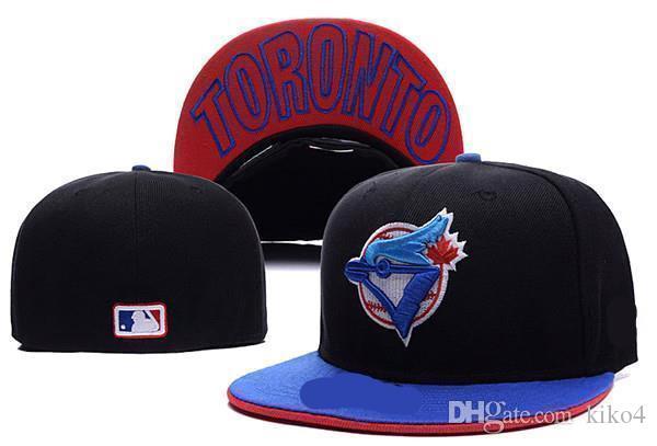 Buen diseño Toronto en el campo Béisbol Equipado Sombreros Logotipo del equipo deportivo Bordado azul jays Completo Gorras cerradas