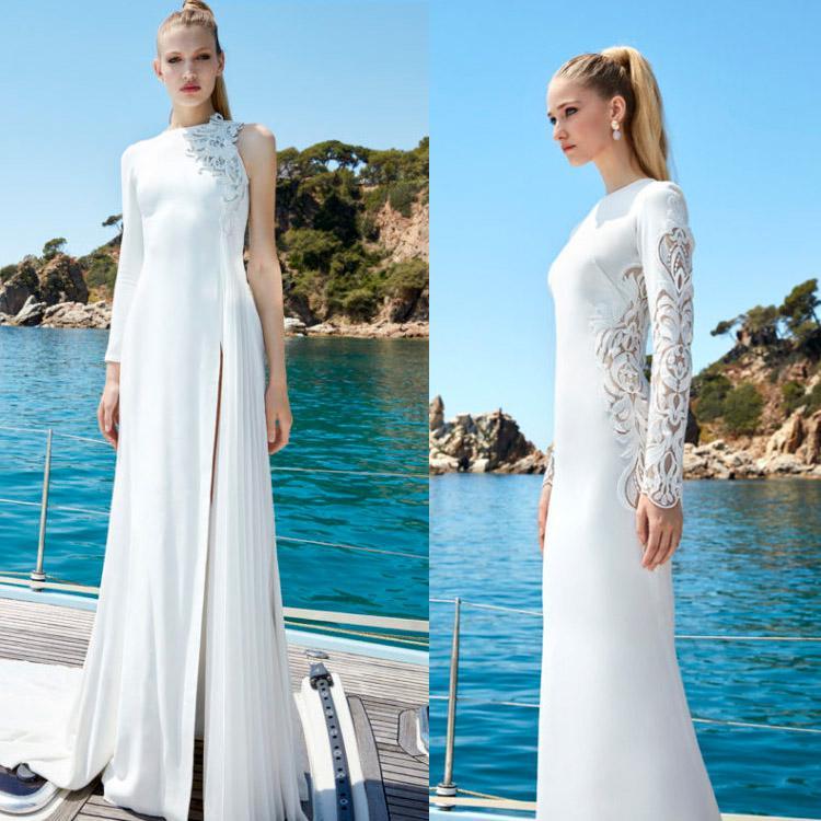 Fashion Beach Satin Wedding Dresses High Neck One Shoulder Long Sleeve Bridal Gowns A Line Side Split Bohemian Wedding Dress