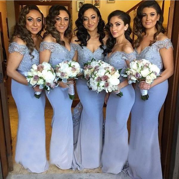 Date d'épaule Dentelle Appliques minces Mermaid Longues demoiselles d'honneur Robes Perles Formal Custom Custom Vestidos de l'honneur de Maid formelle