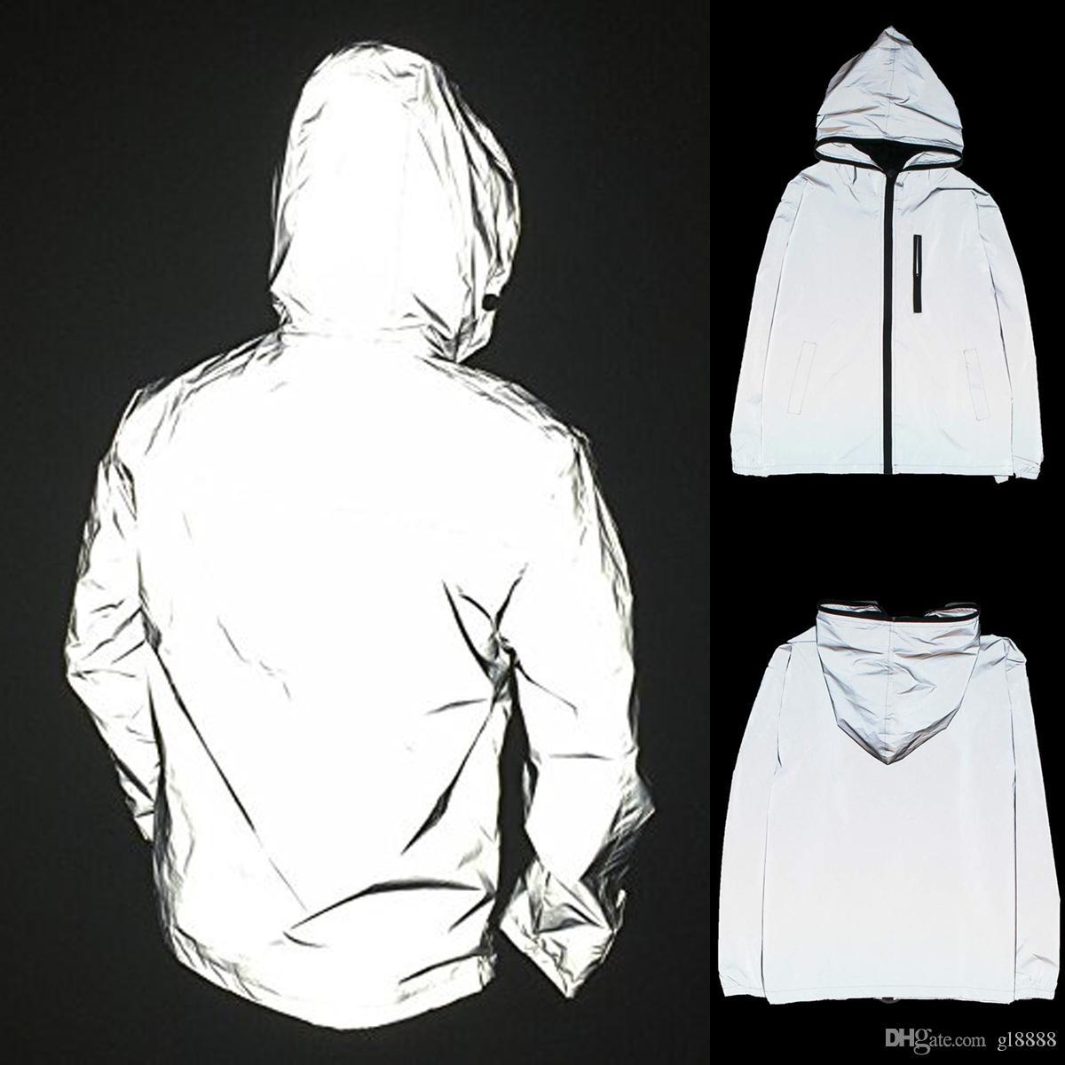 2019 Uomini Streetwear Super riflettenti Giacche Mens Waterproof Jacket in bicicletta Moto Notte sicura Giacca Hip Pop Dance con cappuccio Giacche