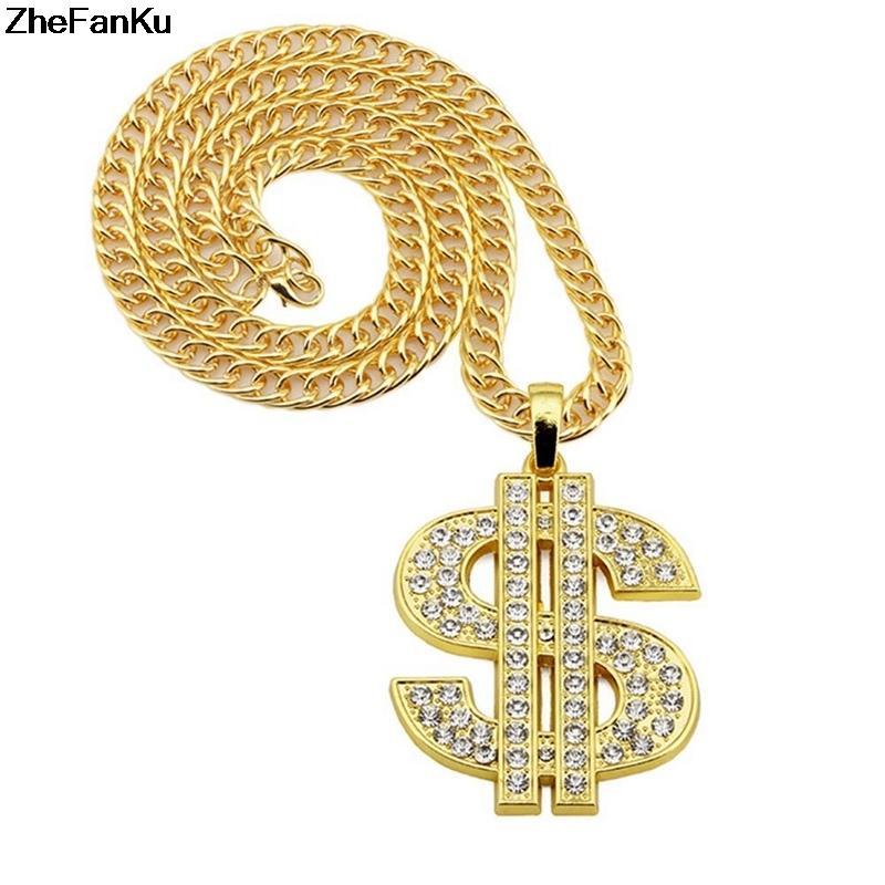 Hip Hop Gold Color Dollar Sign $ Pendants & Necklaces With Long Twist Chain Statement Neckalce For Woman Men