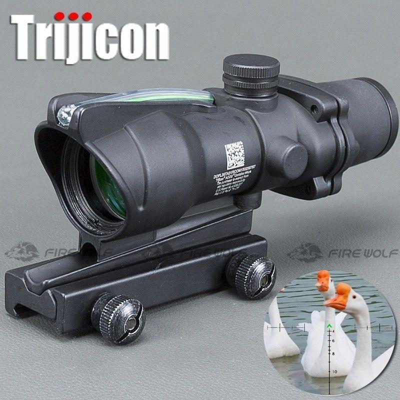 Охотничий прицел ACOG 4X32 реальная Волоконная оптика красная точка с подсветкой Шеврон стекла травления сетки тактический оптический прицел