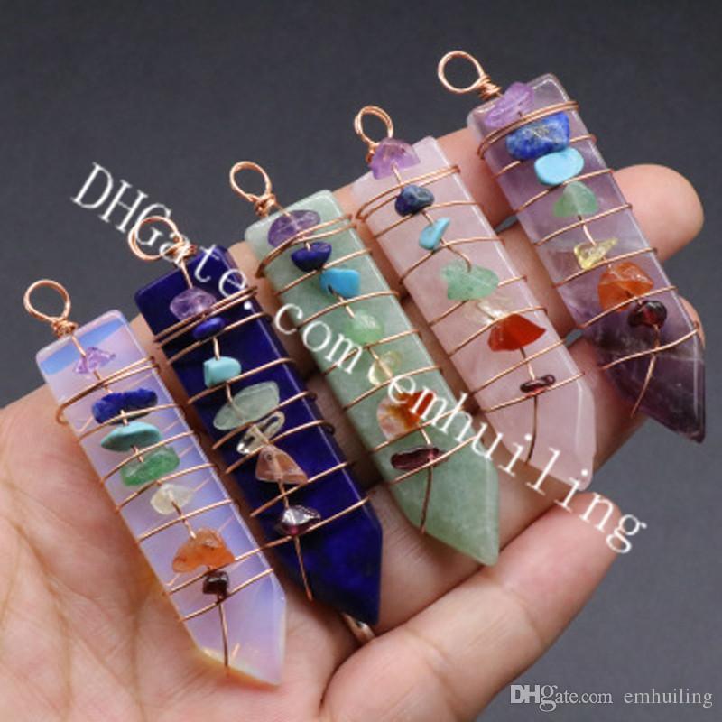 10Pcs 7 Chakra Gemstone Chips Wire Wraped Natural Lapis Aventurine Agate Amethyst Pink Crystal Rose Quartz Sword Shaped Point Pendant Charm