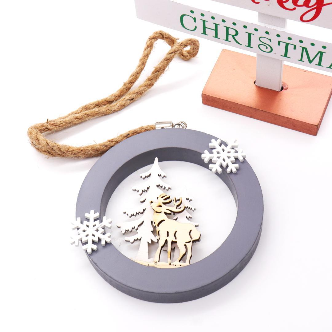 New Year Merry Christmas decorations for home Christmas Snowflake Elk Round Pendants Hanging Decoration xmas wood Crafts decor