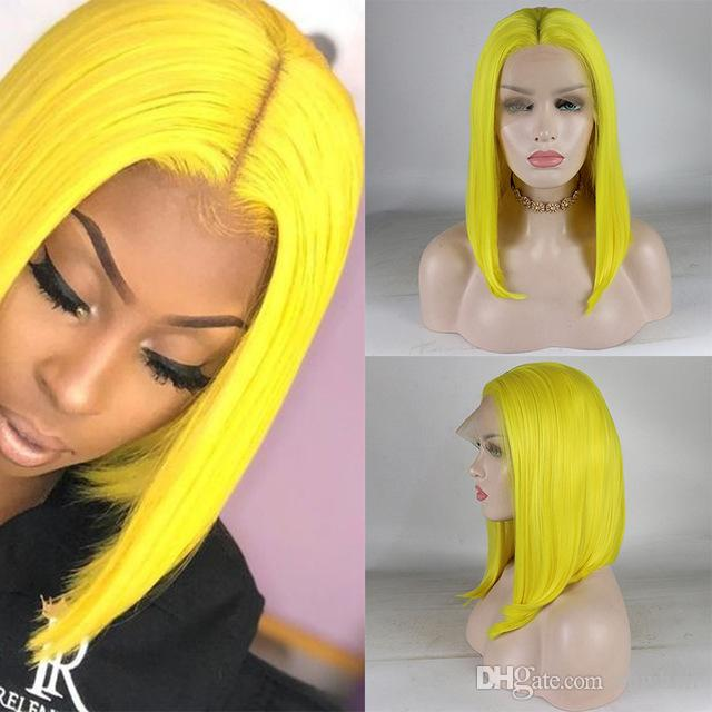 Yellow Lace Front Wig Bob Short Cut For Women