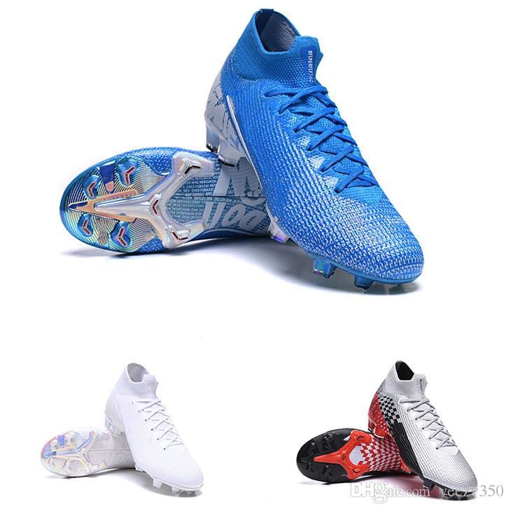 Mercurial Superfly 7 VII Elite 360 FG Kinder Fußballschuh Nuovo Weiß New Lights Blau Held Neymar Geschwindigkeit Jugend Junior Kinder-Fußball-Schuhe