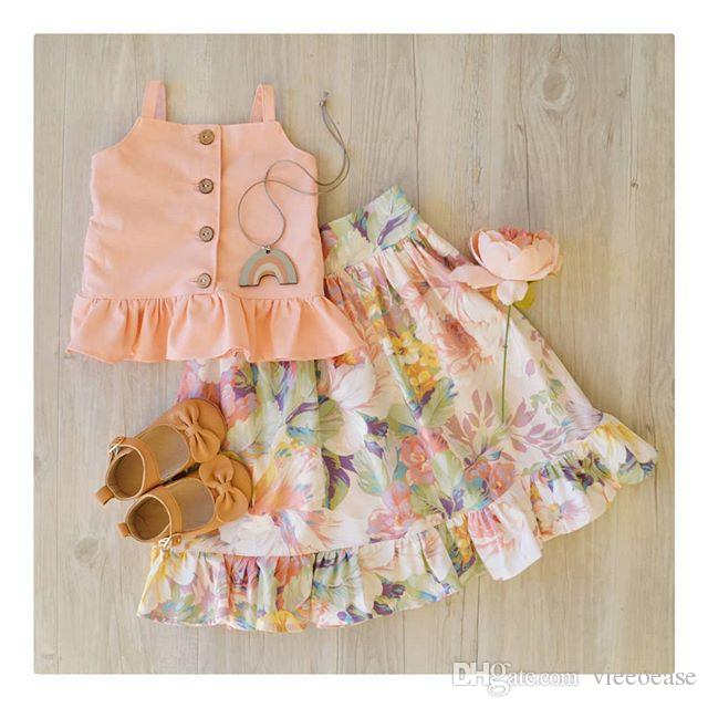 Vieeoease Girls Sets Kids Clothing 2019 Summer Sleeveless Stringy Selvedge Top + Floral Skirt Children Outfits 2 pcs CC-202