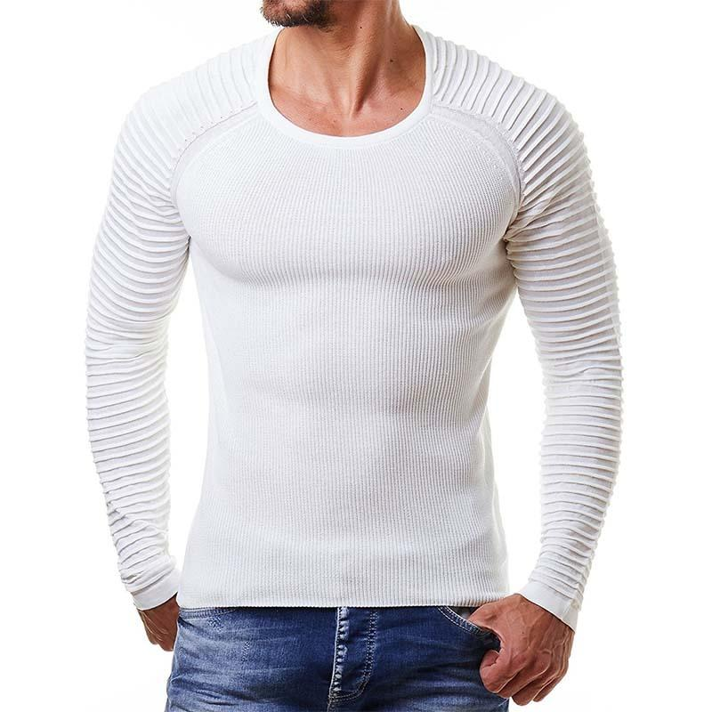 Sweater Men Crew Neck Pullover 2019 Fashion Casual Elastic Knitwear Solid Color Knitted Brand Plus Size White Black Grey