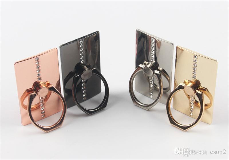 Universal Diamante de luxo Retângulo dedo anelar montar titular estande titular de telefone celular para Samsung nota 4 5 Celulares