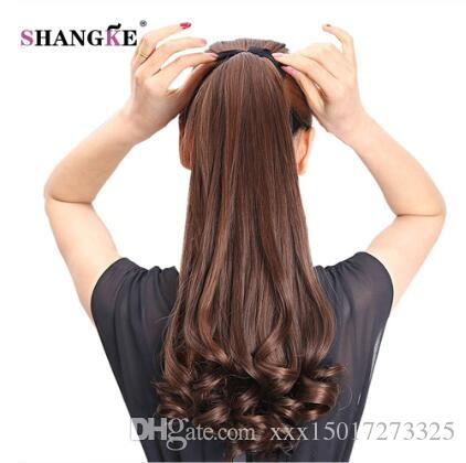22'' Long Curly Synthetic Ponytail Light Brown Drawstring Clip In Ponytail Hair Extensions Heat Resistant Hair Tail