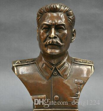 6 '' the Russian Leader Joseph Stalin Bust Bronze Statue R0712
