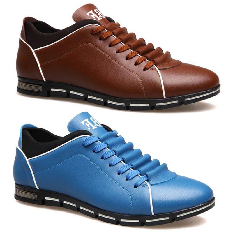 2020 небрендовые мужчины повседневная обувь тройной черный Каштан мода кожа эспадрильи мужские тренеры платье кроссовки 39-47 стиль 10