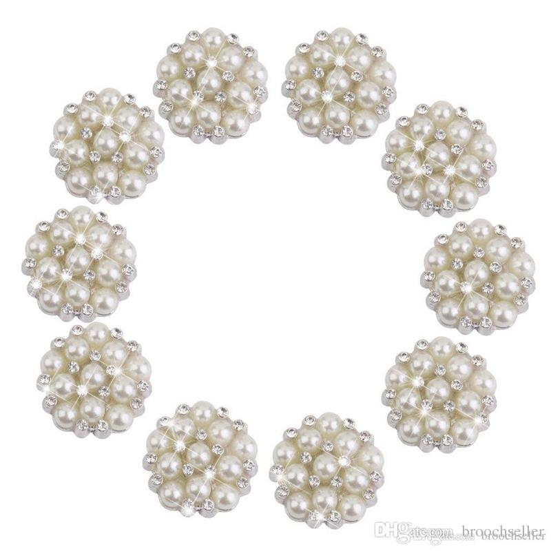 1 Inch Silver Plated Cream Pearl and Rhinestone Crystal Diamante Small Brooch Pin Wedding Bouquet Accessory