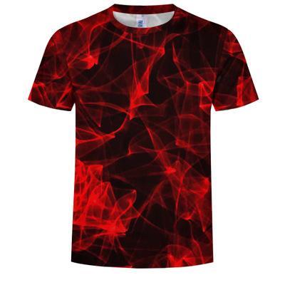 2020 nouvelle chemise 3d t noir T Casual Malla Streatwear manches courtes en tissu bleu rouge été Flaming T-shirt homme t-sh Ypf702
