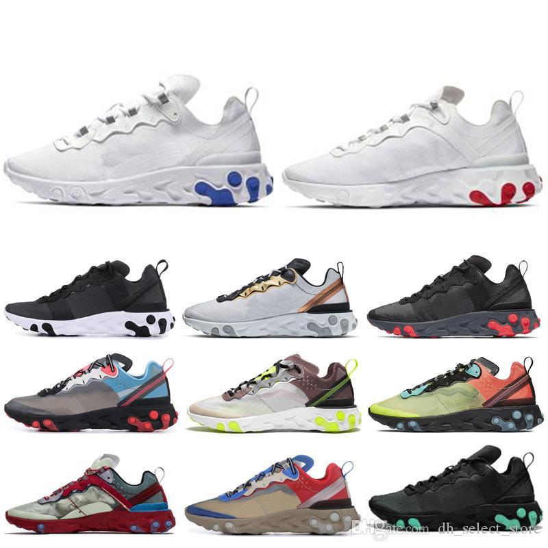Nike react element 87 55 Mulheres Homens reagem elemento 87 55 Sapatos esportivos Novo todo Branco Total Laranja Luz Orewood Marrom mens tênis de corrida ao ar livre tênis