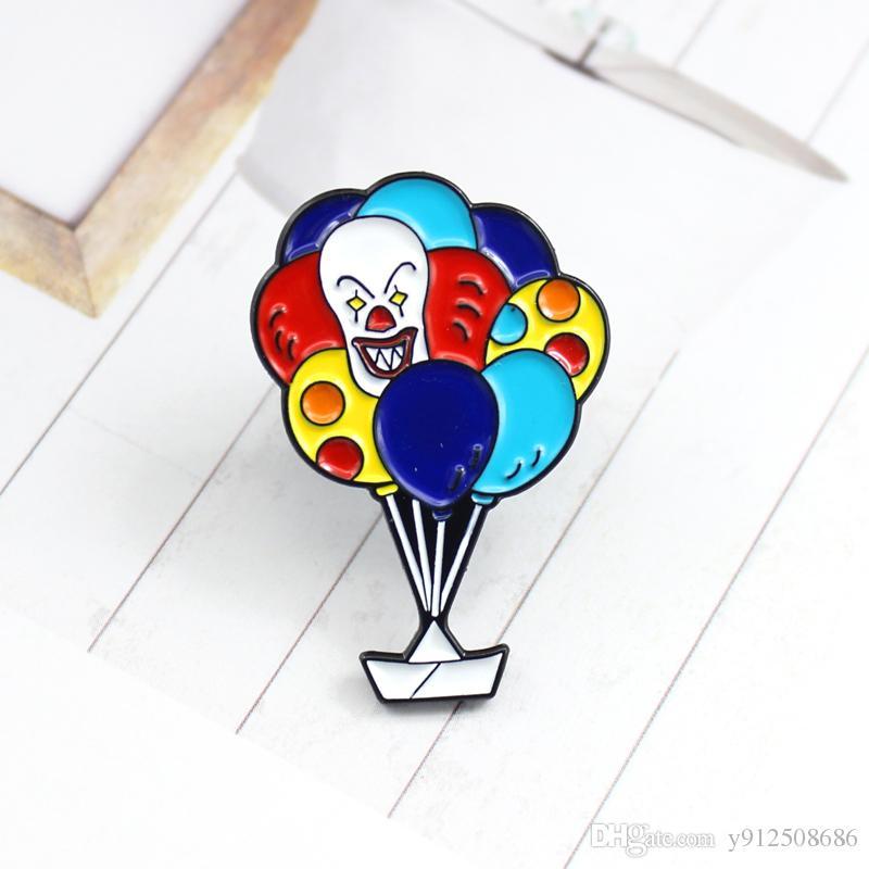 Karikatür Renkli Sıcak Hava Balonu Broş Beyaz Şanslı Gemi Emaye Sirk Palyaço Balon Sırt Çantası Çanta Pin Takı Broş