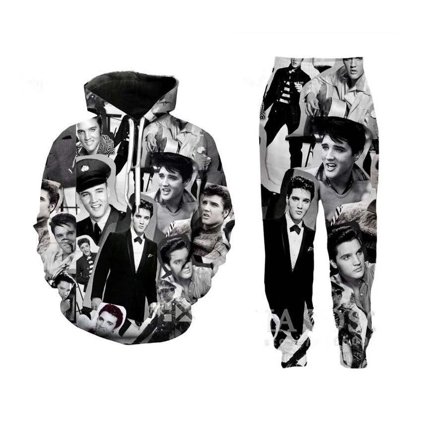 Les nouveaux hommes / femmes Elvis Presley drôle 3D Print Hoodie Casual + Pantalon Y02