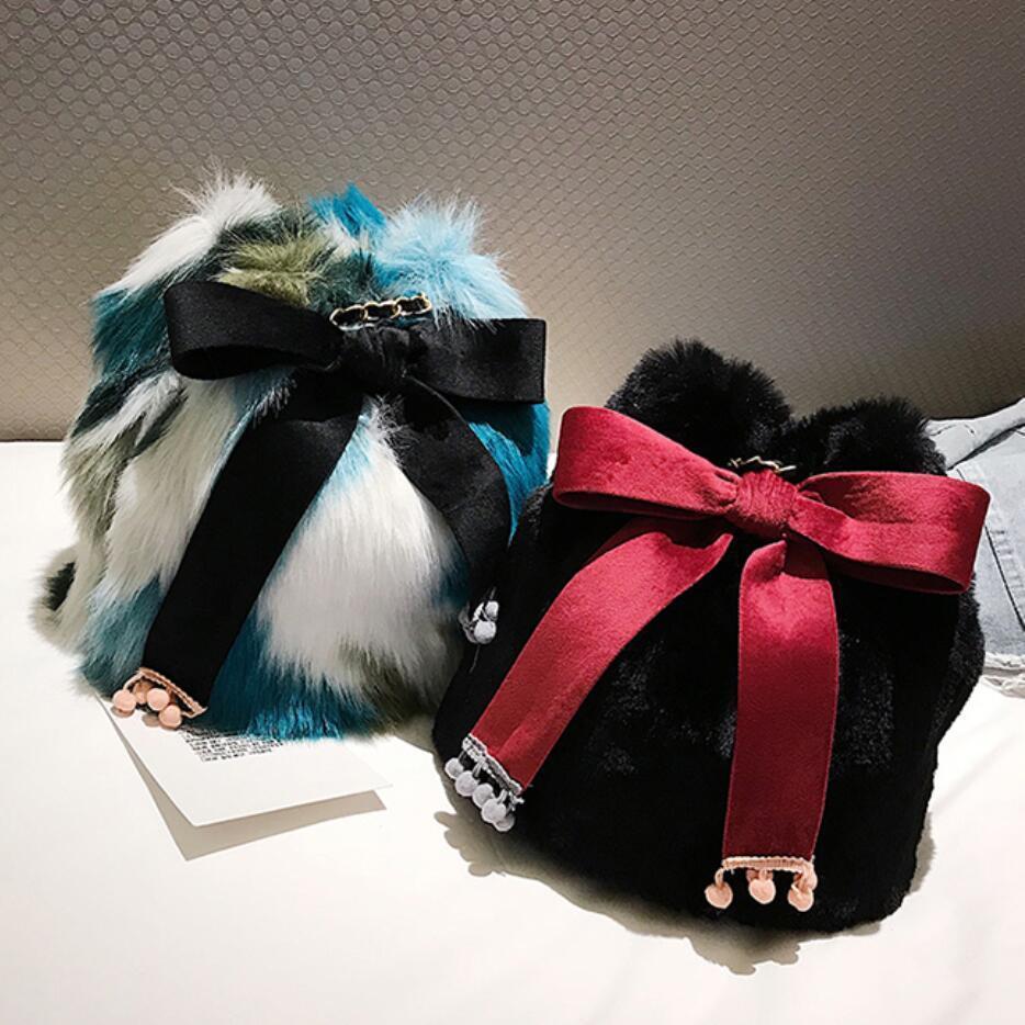 2019 зимняя мода новая женская сумка ведро высокого качества мягкие плюшевые женские дизайнерские сумки симпатичные лук цепочка на плечо сумка