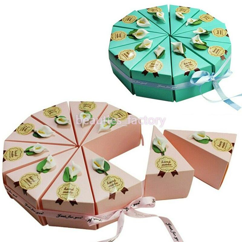 10pcs Cake Shape Paper Candy Boxes Creative Sticky Flower DIY Gift Box Wedding Baby Shower Birthday Favors Box