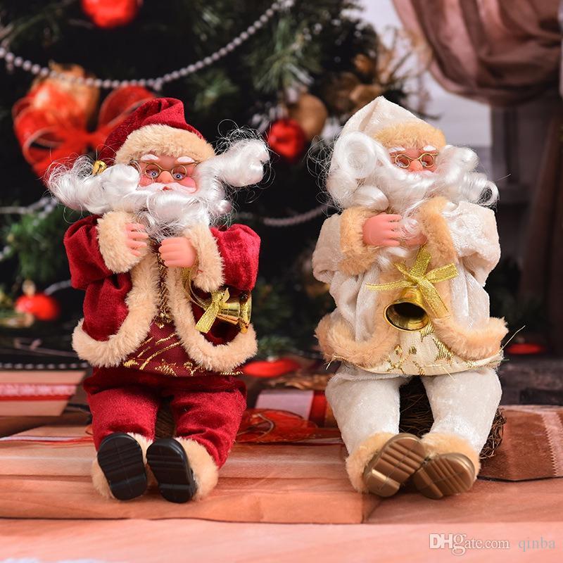 Творческая моды Рождество Ежедневной Необходимость Новогодних украшения 25см Сидящая Осанка Сант-Клаус кукла Рождество дом Window украшение
