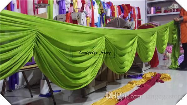 Freies Verschiffenseidengamaschen \ apfelgrüner Tischrock gardiert Hochzeitshintergrund / Treppendekoration / 6m lang