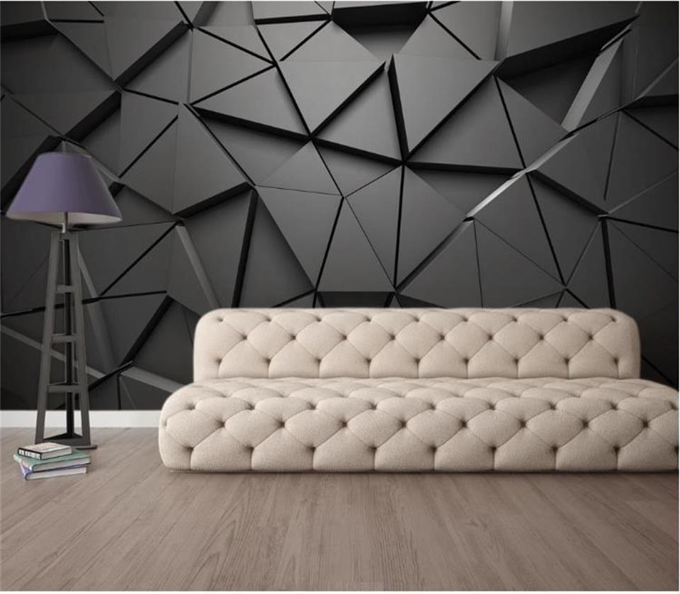Özel boyut fotoğraf kağıdı 3d duvar resmi salon geometrik soyut gri üçgen fotoğraf kanepe zemin duvar kağıdı duvar dokunmamış sticker