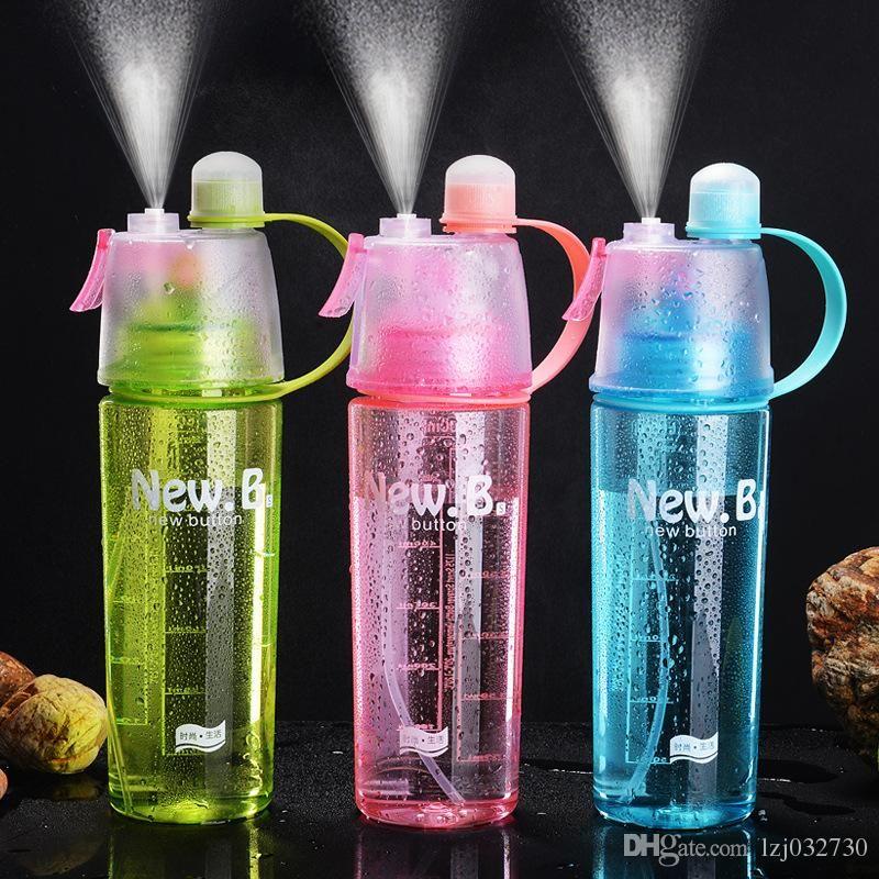 600мл Спрей спорта бутылки воды Портативный Открытый Спорт чайник воды Anti-Leak стаканчик с Mist кемпинге пластиковой бутылки A092