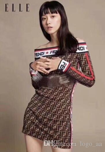 2019 FF последнего дизайна новый женский облегающее платье осень / зима сексуальная одно слово воротник вязать свитер платье бесплатная доставка-111