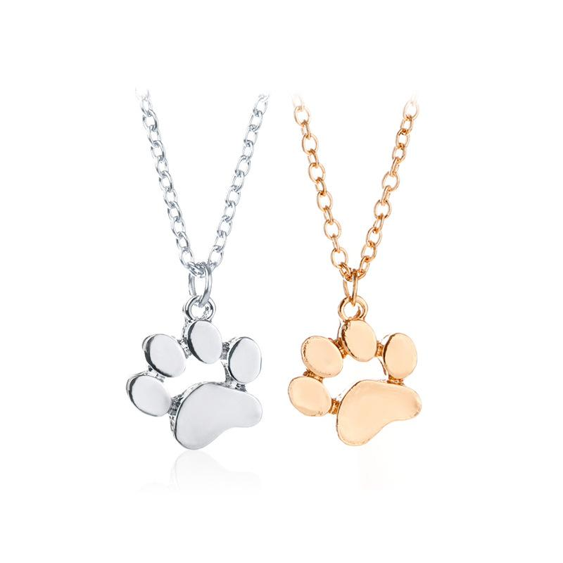 Fashion Dog Paw Necklaces & Pendants Alloy Gold Silver Plated Pendant Necklaces Short Sweet Necklaces For Women Gift